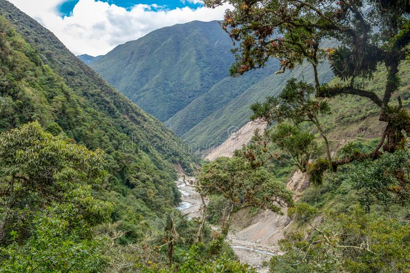 The Santa Teresa River in green lush valley of Andes mountains, Peru. Landscape of peruvian mountains with Santa Teresa River in green lush valley, The stock photography