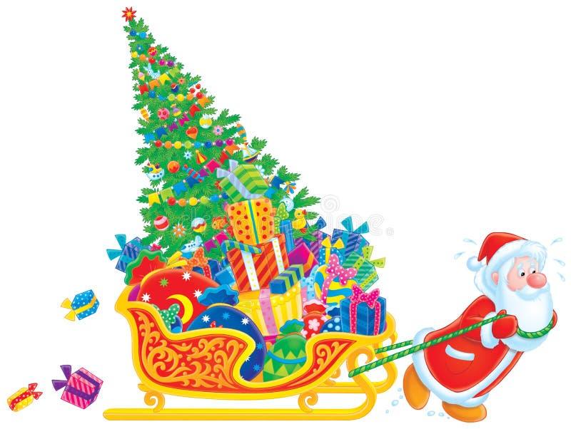 Santa tira del trineo con el árbol de navidad y ilustración del vector