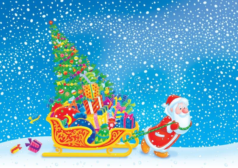Santa tira del trineo con el árbol de navidad y stock de ilustración
