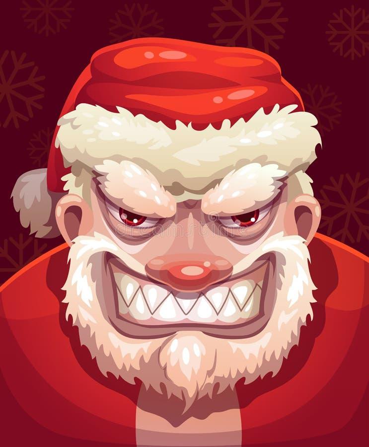 Santa très mauvaise font face illustration libre de droits