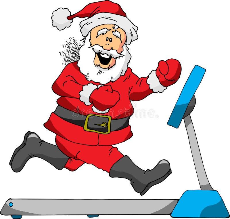 Santa on a Treadmill. A Cartoon of Santa Running on a Treadmill vector illustration
