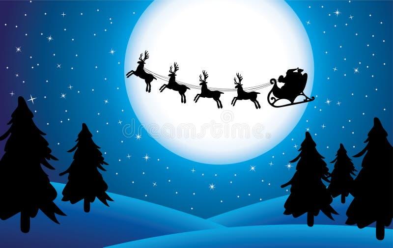 Santa and trees stock photo