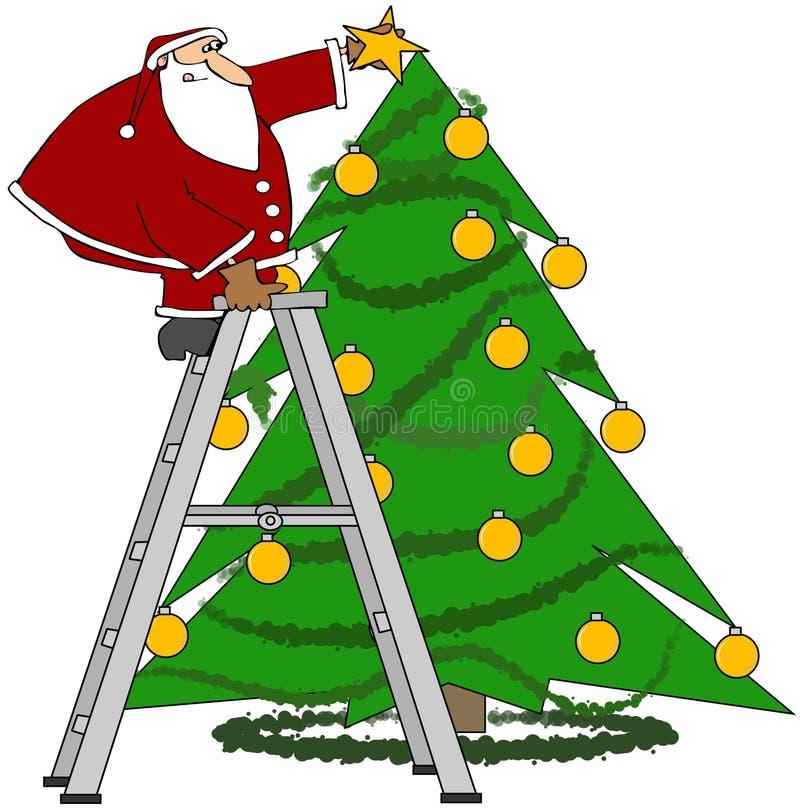 Santa Trimming The Tree Royalty Free Stock Photo