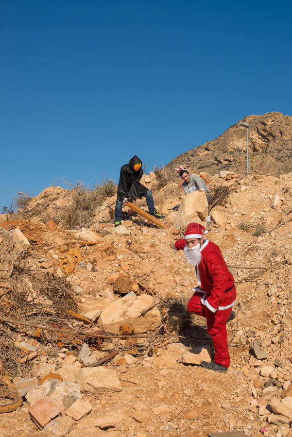 Santa in trouble stock photography