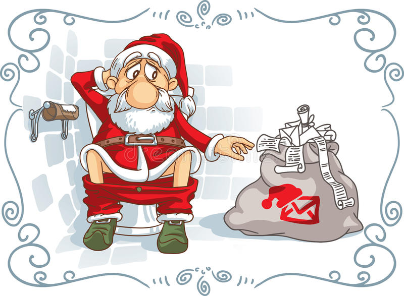 Santa Is in Trouble. Vector cartoon showing Santa Claus in a very difficult situation. File type: vector EPS AI8 compatible. The file is made with fully royalty free illustration