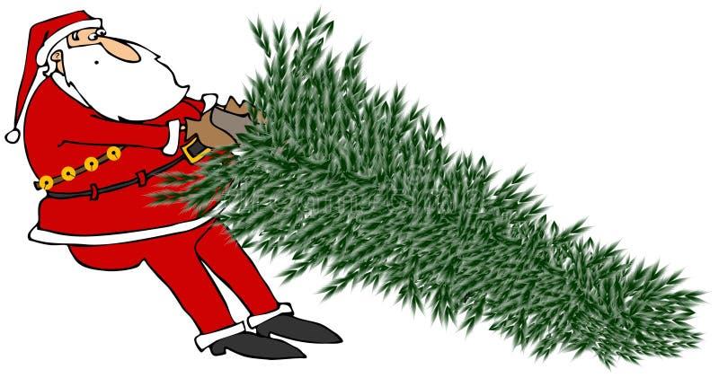 Santa Tugging On A Christmas Tree Royalty Free Stock Photography