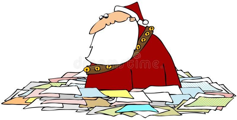 Santa in un mare dei documenti royalty illustrazione gratis