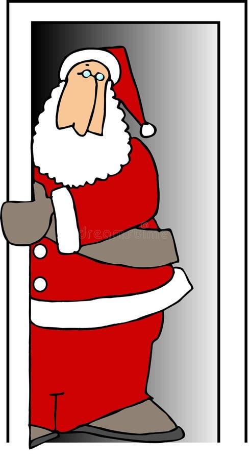 Santa in una porta illustrazione vettoriale