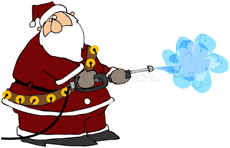 Santa Using A Power Washer stock illustration