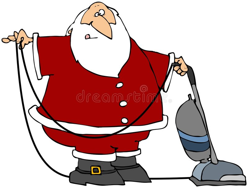 Santa Using A Vacuum royalty free illustration