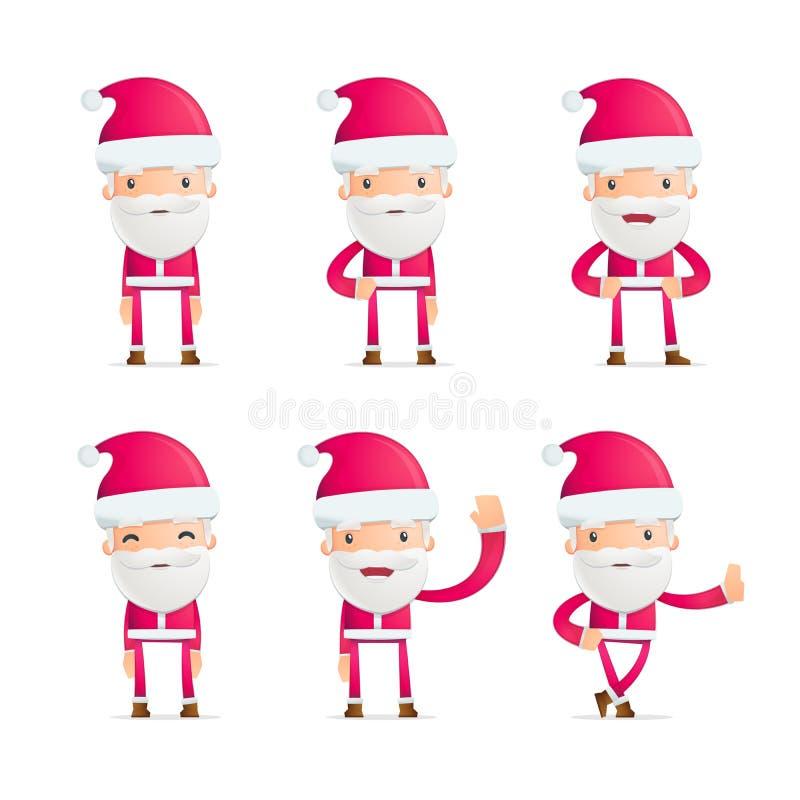 Santa in varie pose royalty illustrazione gratis