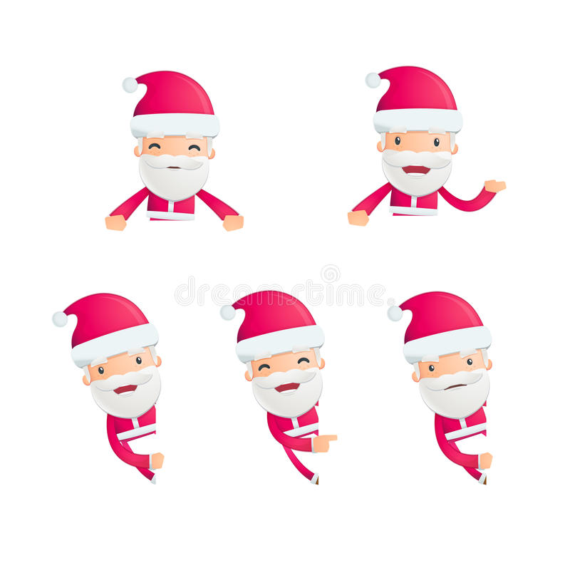 Santa in varie pose illustrazione vettoriale