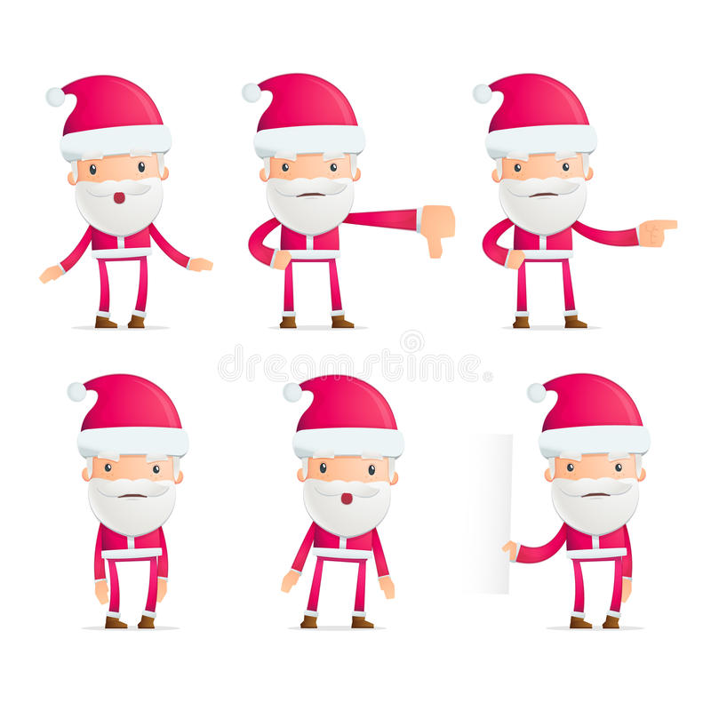 Santa in varie pose royalty illustrazione gratis