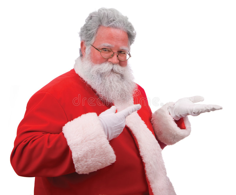 Santa vende su producto fotografía de archivo