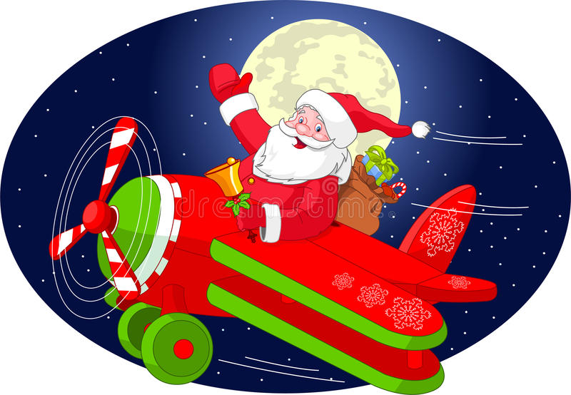 Santa vole dans un avion illustration de vecteur