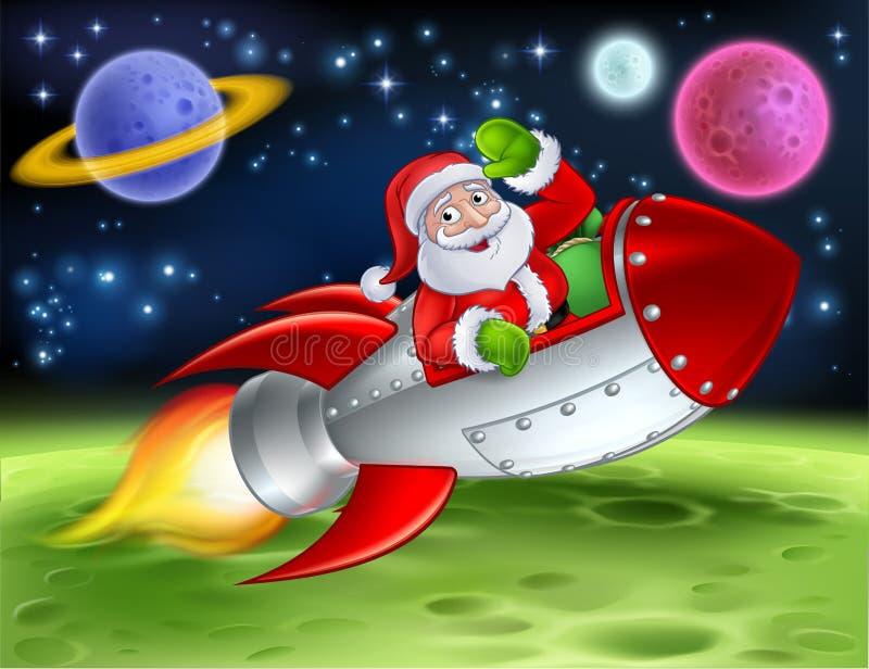Santa w Astronautycznej rakiety kreskówki ilustraci royalty ilustracja