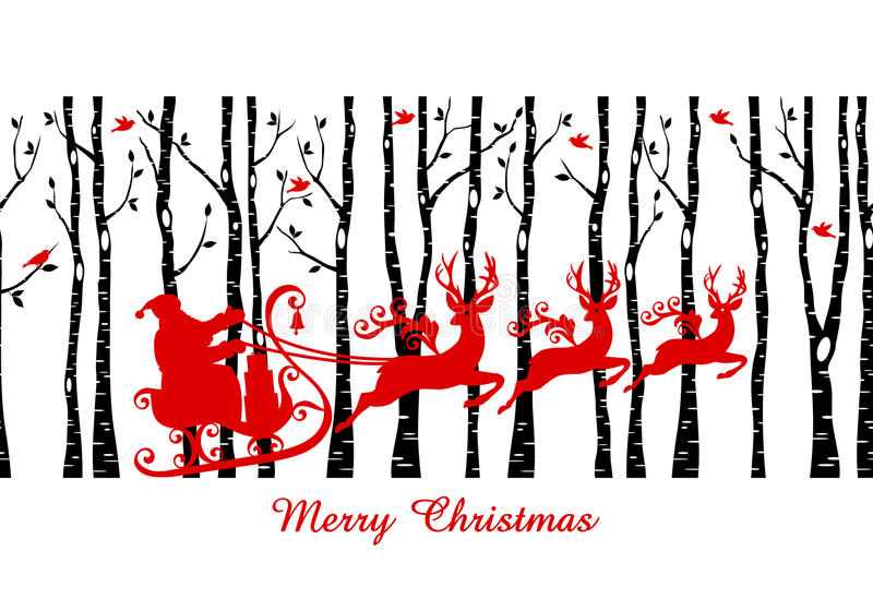 Santa w brzozy drzewa lesie, wektor ilustracji