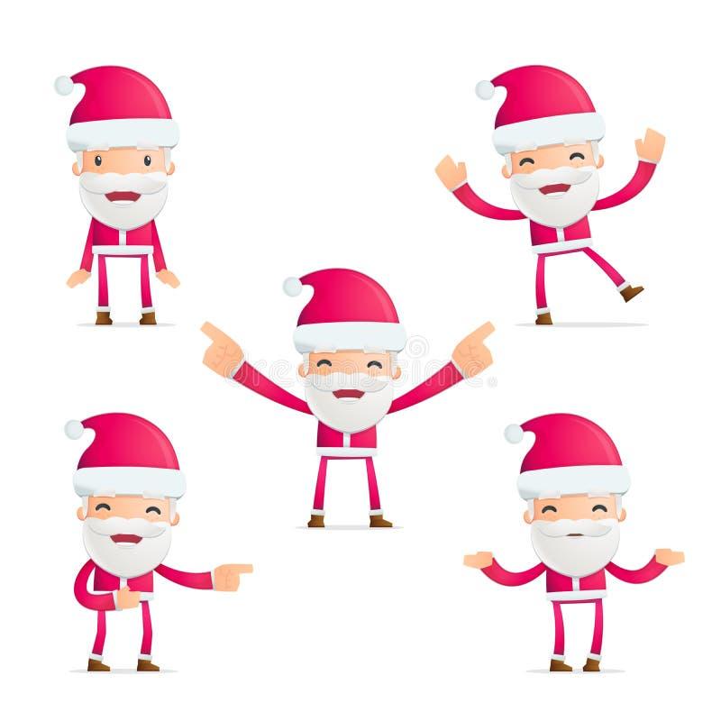Santa w różnorodnych pozach ilustracja wektor