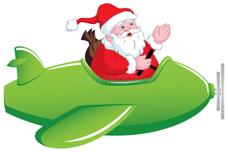 Santa w Samolocie ilustracji