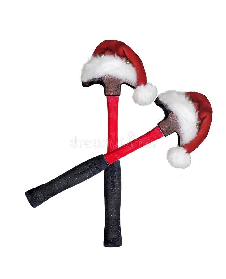 Santa Walking Hammers royalty free stock image