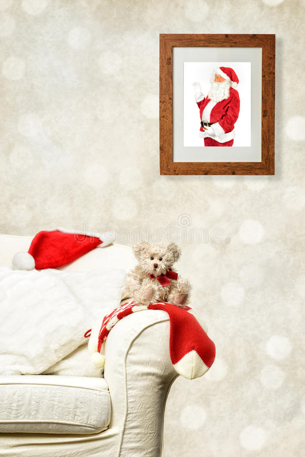 Santa Watching Teddy fotos de stock royalty free