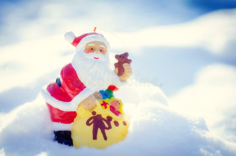 Download Santa On White Snow Background Stock Photo - Image: 83719092