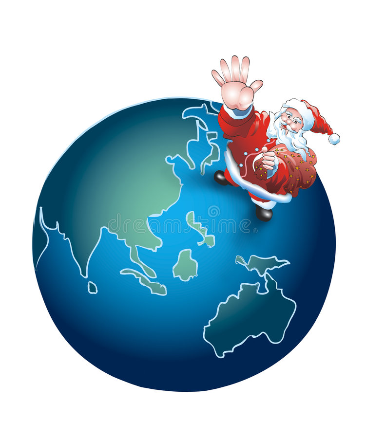 Download Santa for the whole world stock illustration. Illustration of earth - 265262