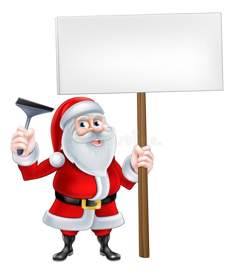 Santa Window Cleaner Sign stock illustrationer