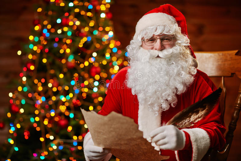 Santa with wishes stock photos