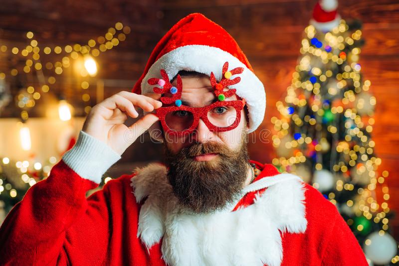 Santa wishes merry Christmas. Happy winter time. Santa Claus wishes Merry Christmas and Happy new year. stock photography