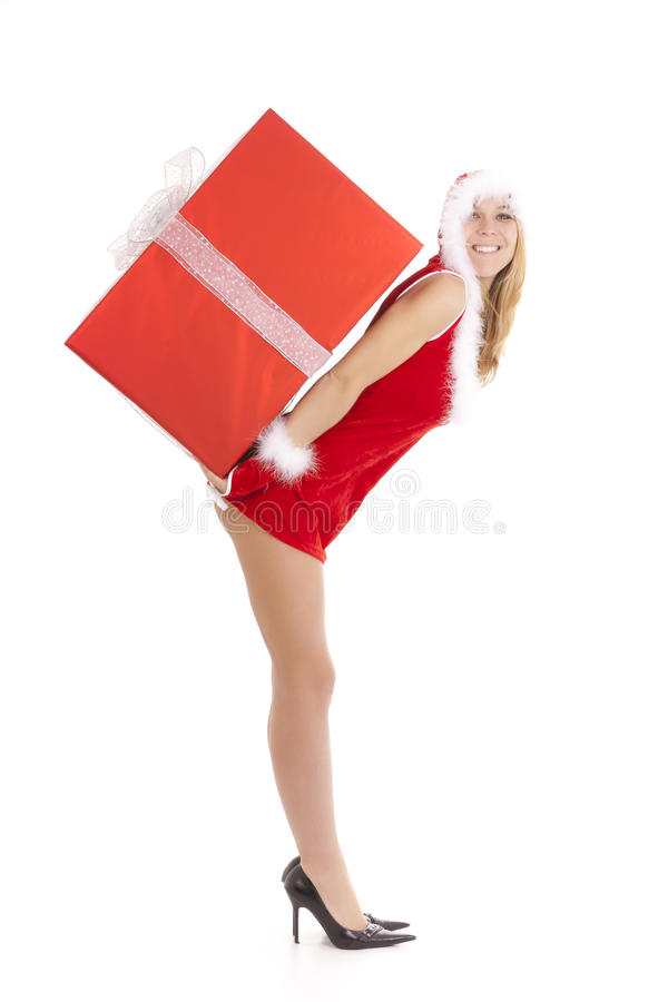 Download Santa Woman Carrying Package Stock Image - Image: 17462639