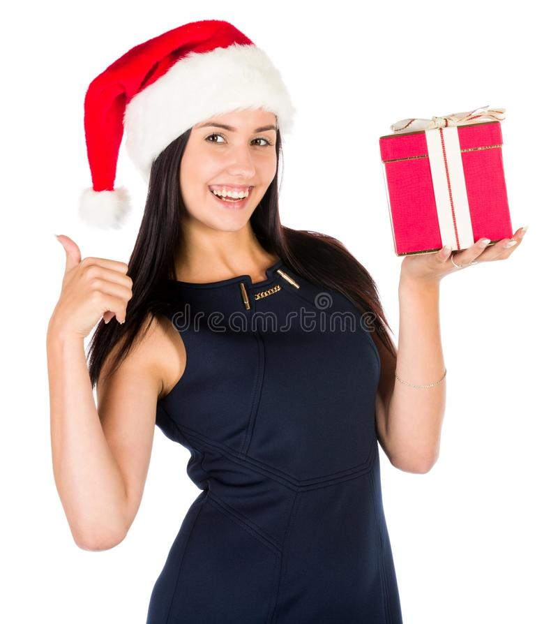 Santa Woman With A Christmas Gift royalty free stock photography