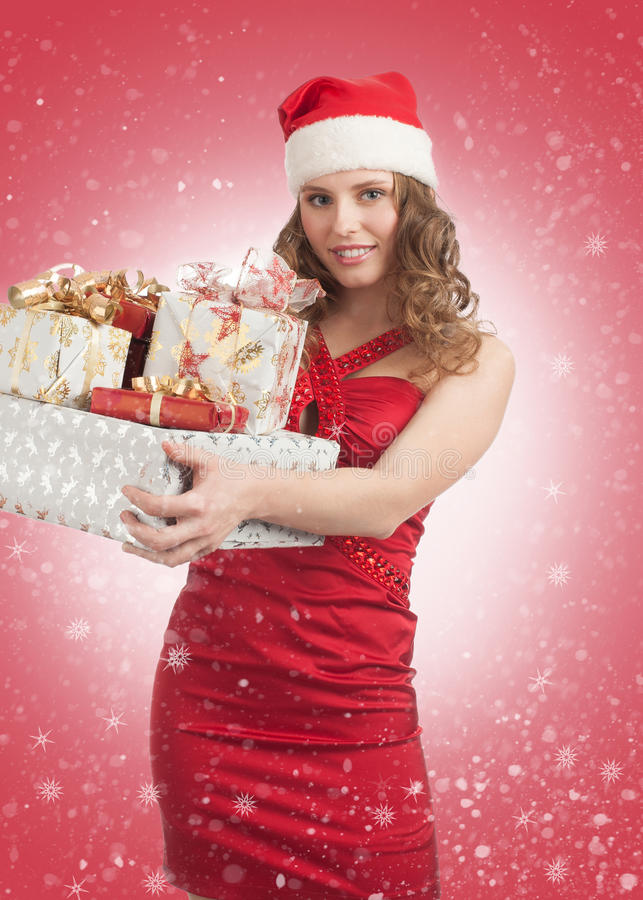 Download Santa Woman With Christmas Gifts Stock Photo - Image: 22175070