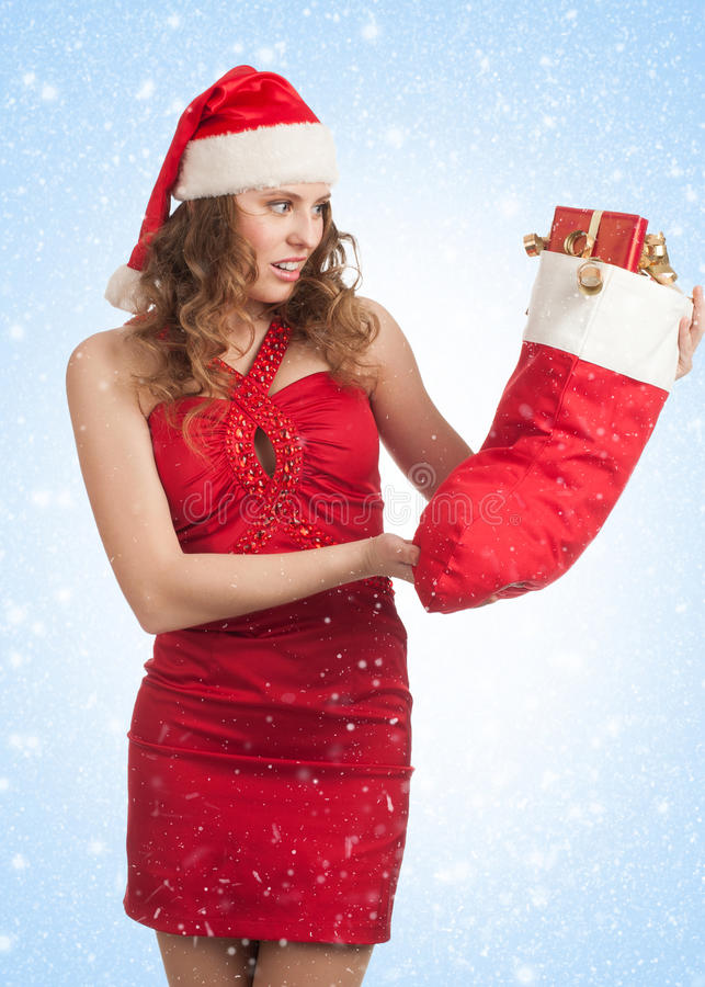 Download Santa Woman With Christmas Gifts Royalty Free Stock Image - Image: 22175076