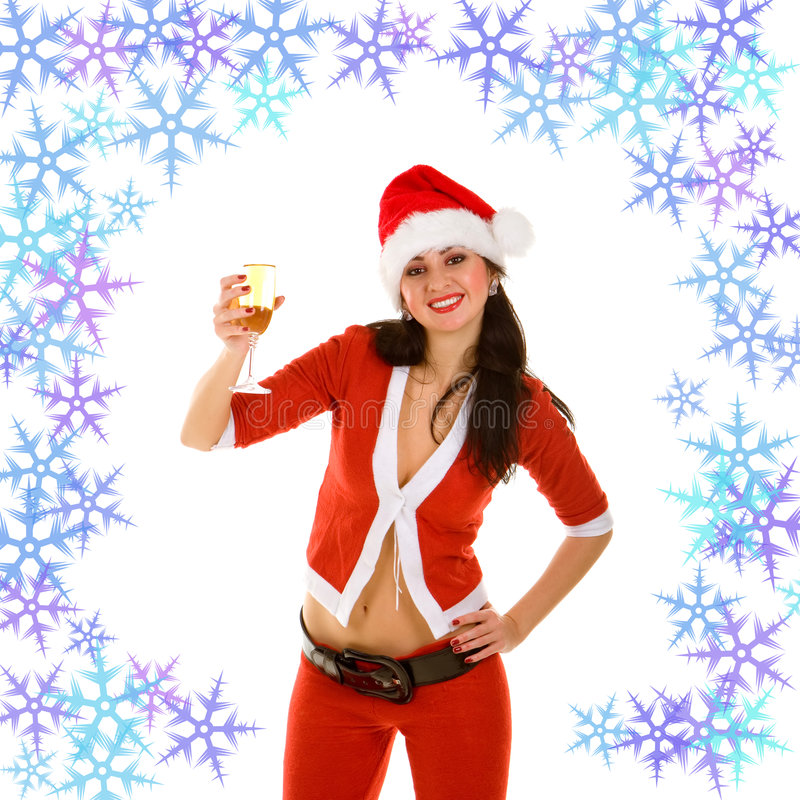 Download Santa woman and goblet stock photo. Image of holiday, emotion - 6976690