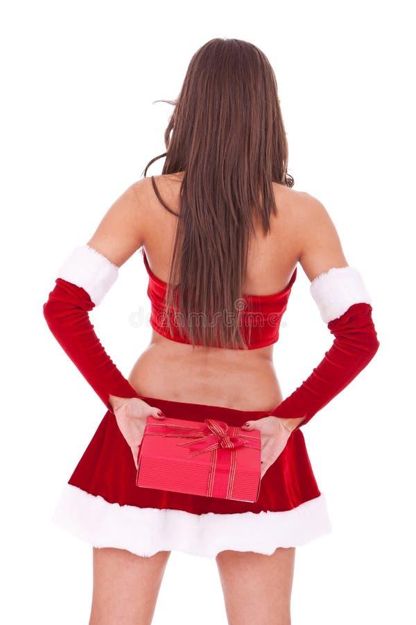 Download Santa Woman Hiding A Little Present Box Stock Image - Image: 22085983