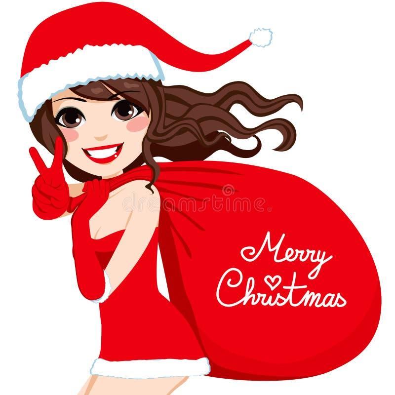 Santa Woman Merry Christmas vector illustratie