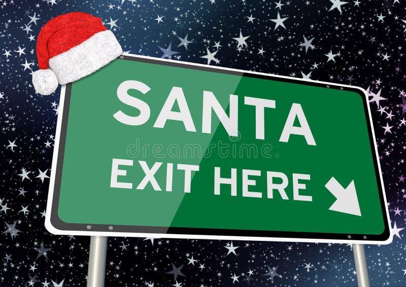 Santa wyjście tutaj na kierunkowskazie lub billboardzie przeciw gwiaździstemu niebu przy bożymi narodzeniami lub xmas nocą com po royalty ilustracja