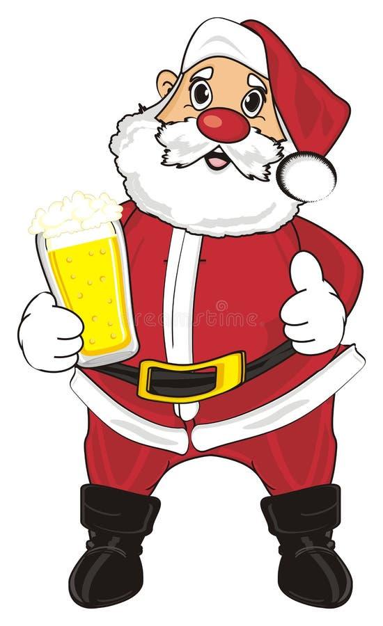 Santa y cerveza stock de ilustración