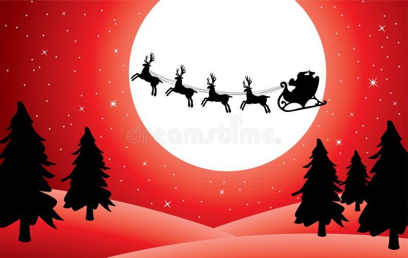 Santa y deers stock de ilustración
