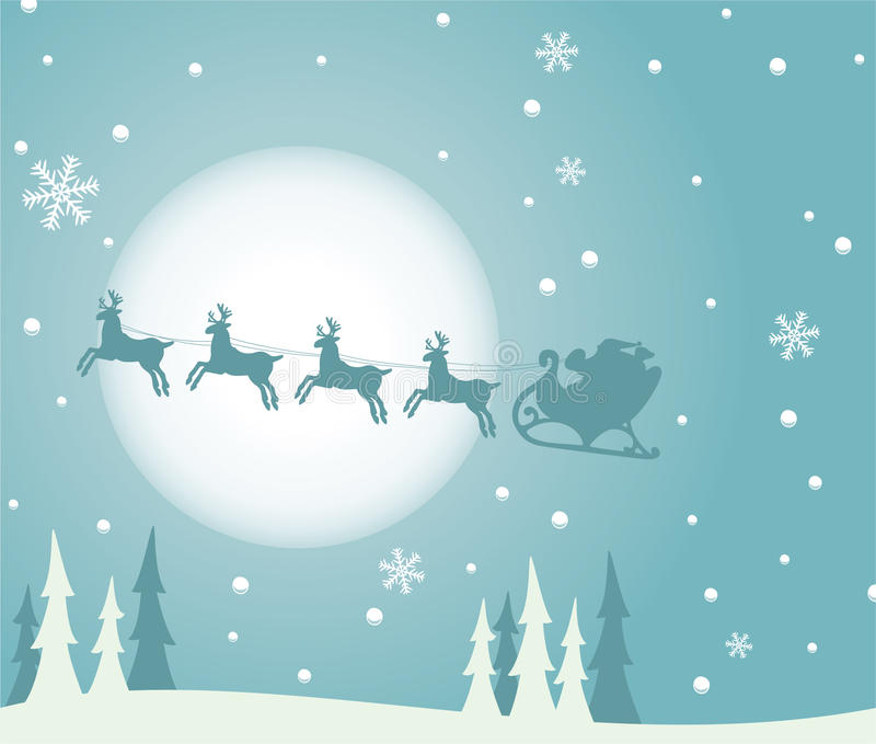 Santa y deers libre illustration