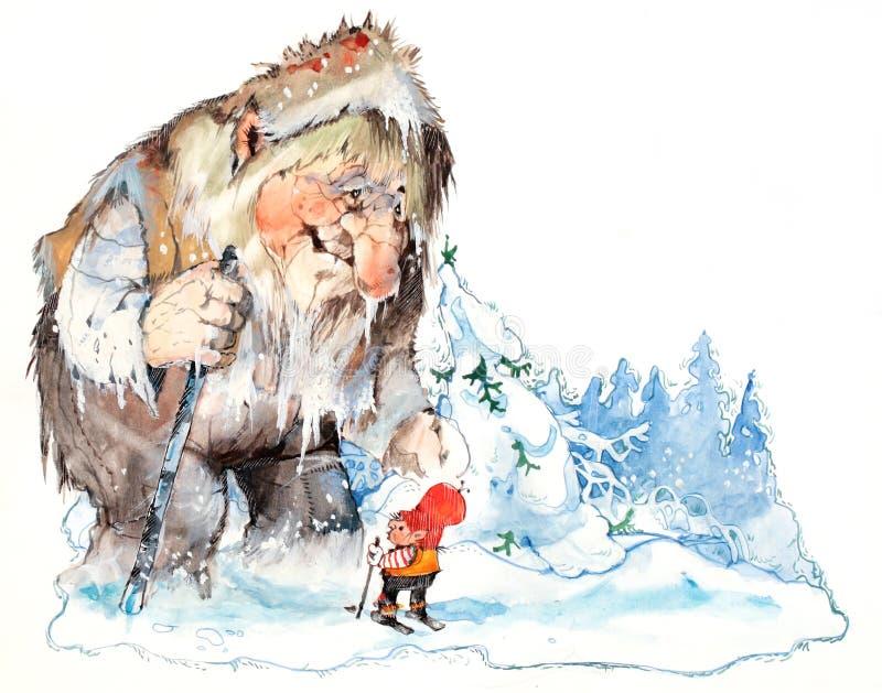 Santa y duende en el bosque del invierno ilustración del vector