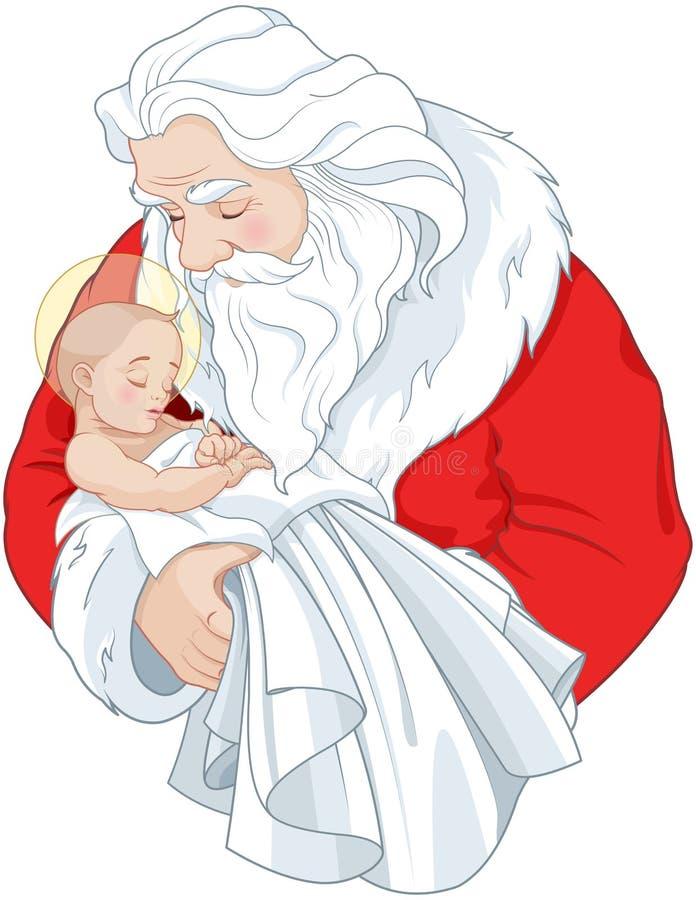 Santa y el Niño Jesús ilustración del vector