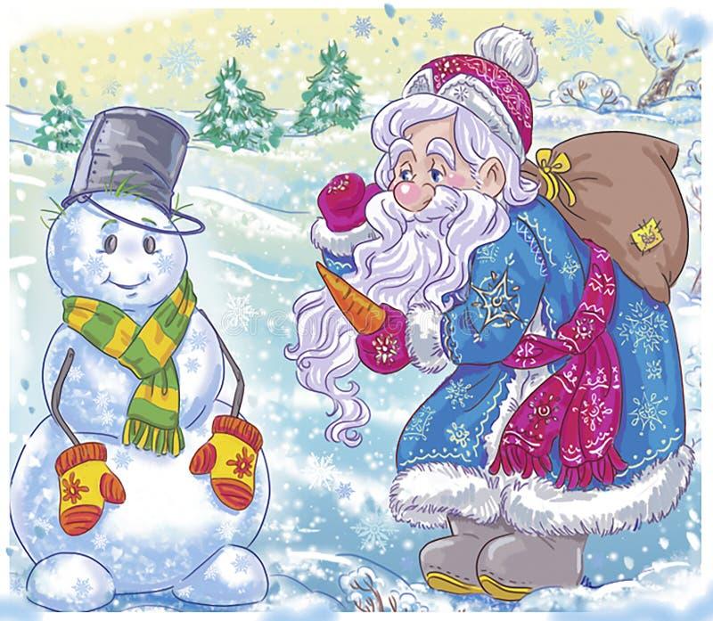 Santa y muñeco de nieve libre illustration