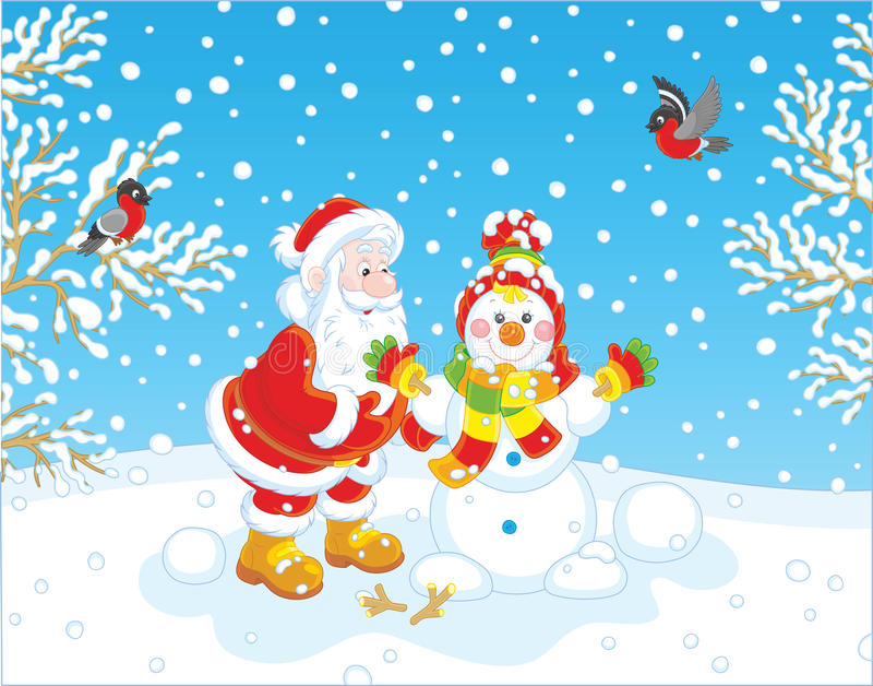 Santa y muñeco de nieve ilustración del vector