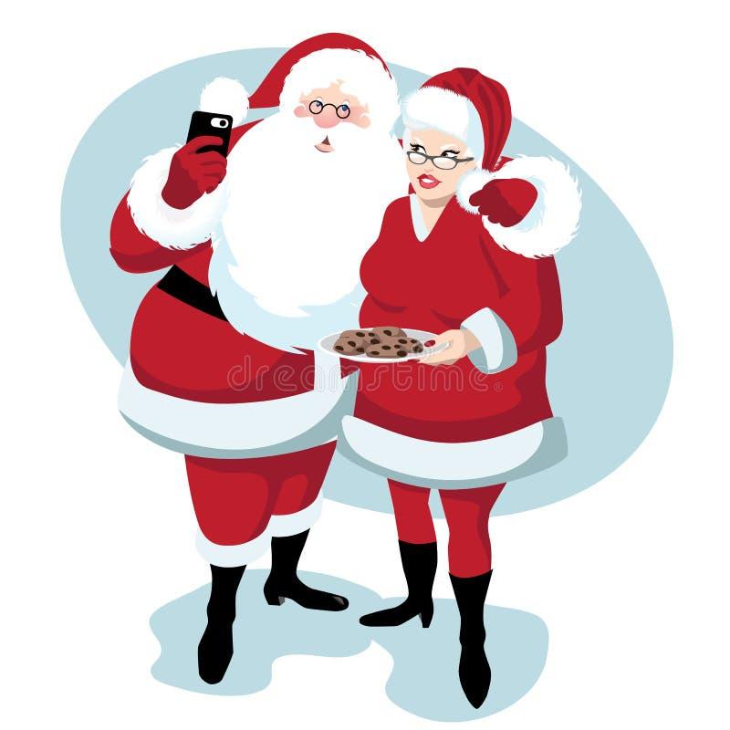 Santa y ornamentos o iconos de Mrs Claus toma un selfie libre illustration