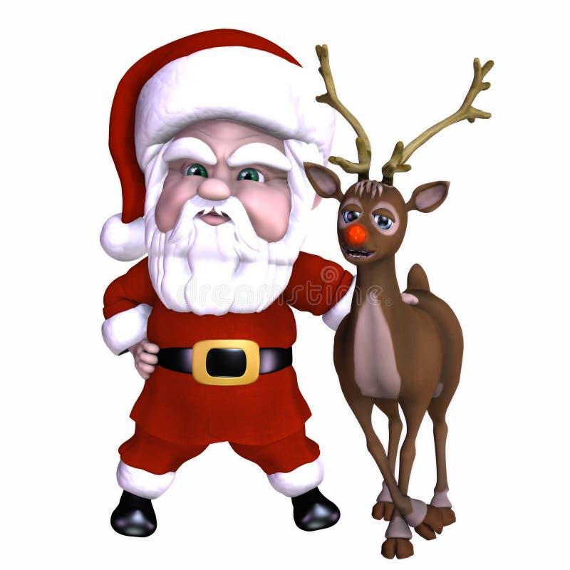 Santa y reno 1 stock de ilustración