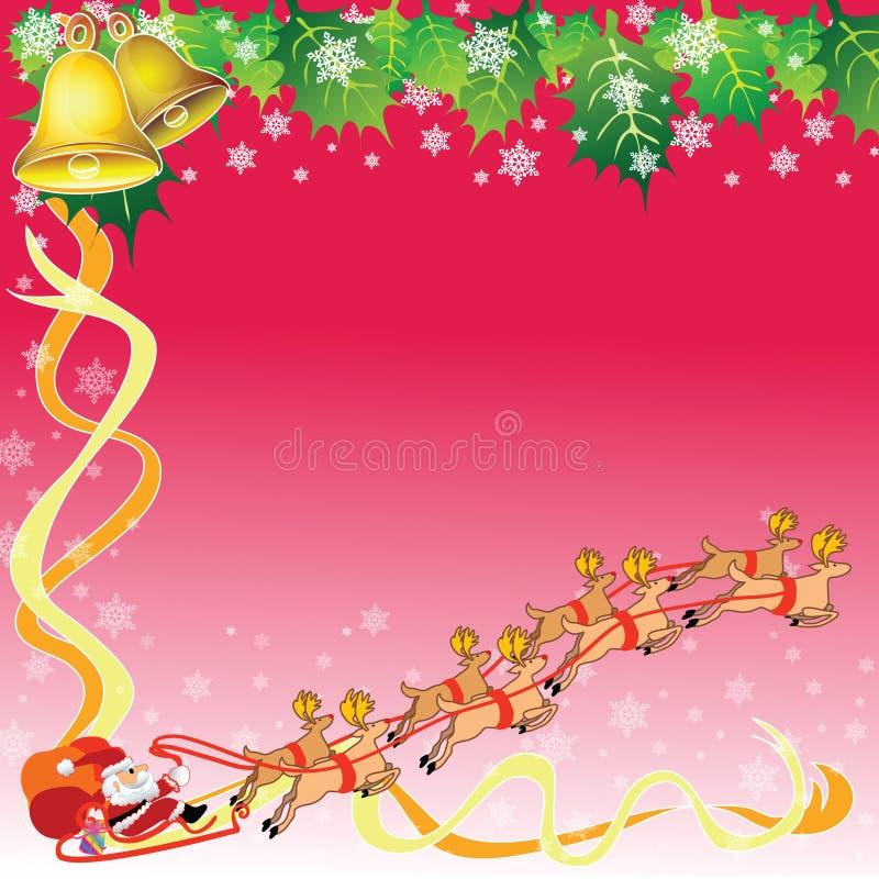 Santa y reno con el fondo del tema de la Navidad stock de ilustración