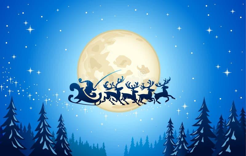 Santa y reno en cielo libre illustration