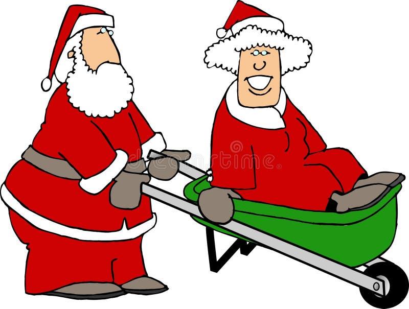 Santa y señora Claus que juega alrededor ilustración del vector